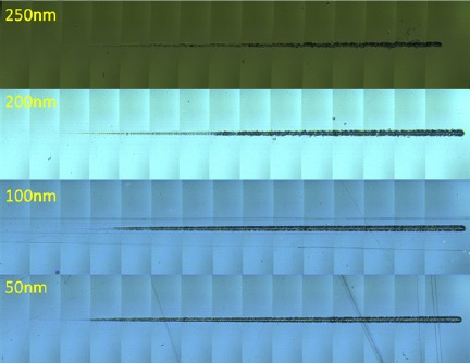 Panoramic comparison of scratches on each sample, (500x magnification). Applied load range was 0.08 - 5 mN.