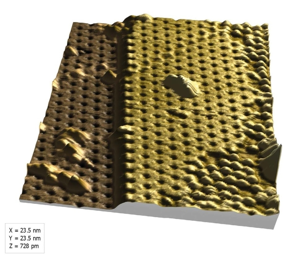 "3D view of the silicene surface generated in MountainsMap® showing an atomic step and typical ""honeycomb"" structure."