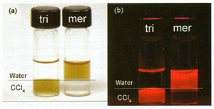 QDs coated with tri-n-octyl phosphine oxide (tri) and mercaptoacetic acid (mer) under (a) ambient and (b) ultraviolet illumination. The upper layer is water; the lower layer is CCL4.