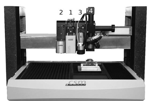 The UNHT on Anton Paar Open Platform modular system: 1 - UNHT head, 2 - NHT head, 3 - AFM, 4 - optical video microscope