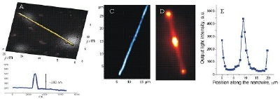 """AFM of semiconductor nanowire (Mn-doped GaN) is shown on A. It has a diameter of about 300 nm as seen on a height profile crossing it (B). The nanowire shows fluorescence in near infrared when excited by a green laser (488 nm). Scanning laser confocal fluorescence image of it is on C. D shows fluorescence image of the nanowire, being excited at its center by a tightly focused laser spot (~300 nm diameter). The nanowire is imaged by a cooled CCD camera in a """"direct image"""" mode of the spectrograph; the excitation laser light is completely cut off by edge filters in this scheme (as well as in scanning laser confocal fluorescence detection scheme). From the image (D) it is clear that the emission light is partially transmitted through the nanowire from the center to both ends. From light intensity profile (E) it can be determined that about 70% of emitted light is transmitted for more than 10µm. Sample courtesy of Prof.Y. Bando,National Institute for Materials Science, Japan."""
