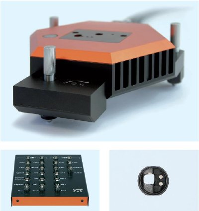 Nanosurf components required for SThM measurement. (Top) The Nanosurf easyScan 2 FlexAFM scan head. (Bottom left) The easyScan 2 Signal Module A. (Bottom right) The FlexAFM Cantilever Holder ST.