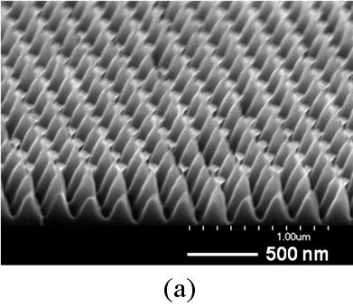 "Scanning electron microscope (SEM) images of 3-D nanostructures of various sidewall profiles and tip sharpness created on silicon substrates1,2. Well-regulated nano-periodic structures with superior control of the structural three-dimensionality can be conveniently created on a large sample area (up to 4""x4"" substrate) by combining the Bosch DRIE process with a laser interference lithography. The laser interference lithography can define a uniform array of photoresist nanopatterns (line, pillar, or holes), where a pattern periodicity is determined by the laser wavelength and the angle between two interfering beams. The nanostructures shown in the figures are tall pillar structures (~500 nm in height) in a square array of ~200 nm in periodicity."