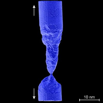 Atomic-level computer simulation of plastic deformation and ductile fracture in a periodically-twinned gold nanowire under pure tension.