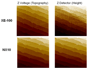The topography images of a sapphire wafer obtained from XE-100 and NX10.