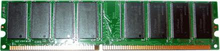 RAM, or Random Access Memory, comes in lots of different forms. DRAM, pictured, is too slow for high performance applications, and cannot store data without a constant power source. It is used in computers to shuttle data between the hard drive and the processor cache.