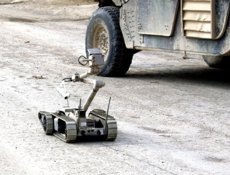 Sensitive portable explosive sensors could be attached to bomb disposal robots like this one, to help soldiers identify IEDs remotely.