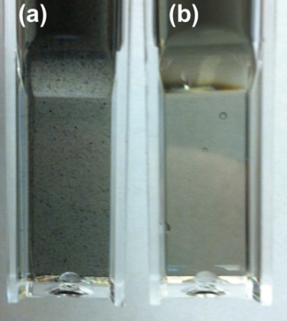 Images of SWCNT Optical images of single-walled carbon nanotube (a) without centrifugation and (b) with ultracentrifugation for two minutes at 55,000RPM (~131,000 x g)