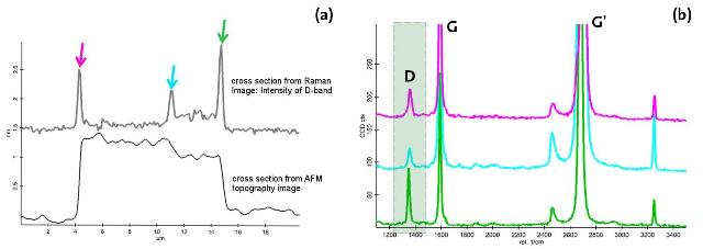 (a) Comparison of D-band intensities with the height profile along the cross-section indicated in Fig 1b. (b) Raman spectra from the positions marked in Figure 4a.