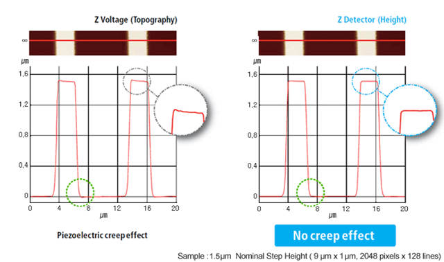 When the topography signal is the applied voltage to the Z-scanner, errors known as edge overshoot on leading and trailing edges often occur. With its industry-leading low-noise (0.2 angstrom) Z-position detector, the Park NX20 overcomes the piezo creep errors and generates topography without edge overshoots.