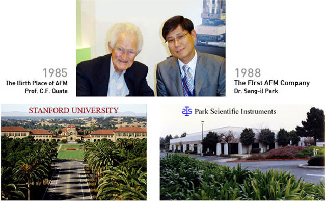 AFM was invented in Prof. Quate's Lab at Stanford Univ. in 1986, where Sang-il Park was a graduate student in the group. Sang-il Park founded Park Scientific Instruments in 1988, and commercialized AFM, the first in the world.