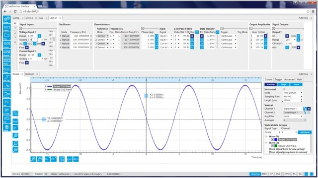 The MFLI LabOne interface from Zurich Instruments. The scope chart shows the signal across the YBCO at 100 K with a ± 20 V, 117 Hz excitation, peak-to-peak voltage of 0.62 mV.