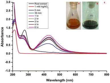 UV–Vis spectra of synthesized AgNPs using root extract: a extract; b color changed after adding AgNO3; c different incubation times