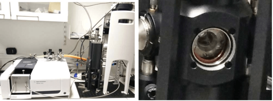 OptistatDry cryostat coupled to a Cary 60 UV-Vis spectrophometer (Agilent Technologies) by optical fibers.