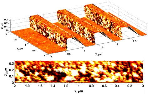 Park 3D AFM image of a photoresist semi-dense line pattern imaged with Z-scanner tilt. The bottom figure clearly depicts the grainy structure of the sidewall.