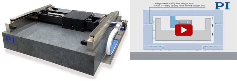 A planar air bearing XY positioning stage with active yaw control for improved straightness of motion. (Image: PI)