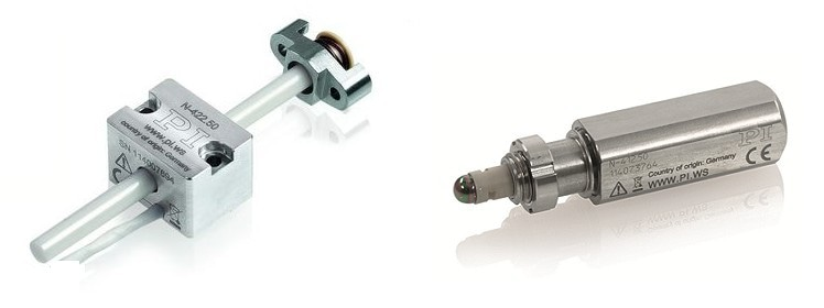 Actuators based on the Mini-Rod drive: N-422 OEM version (left) and N-412 integrated actuator (right) (Image: PI)