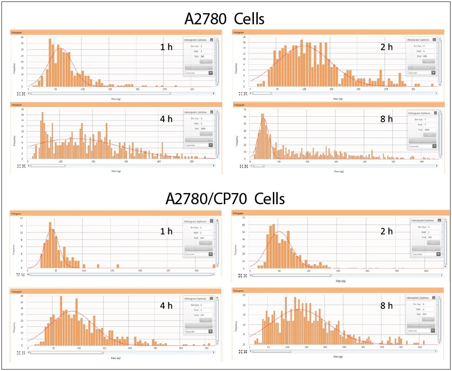 Cellular cisplatin uptake in A2780 and A2780/CP70 over time. Note: samples on different scales.