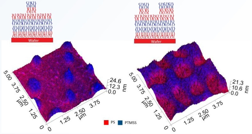 Chemical map data overlaid on 3D topography renderings of both sample types.