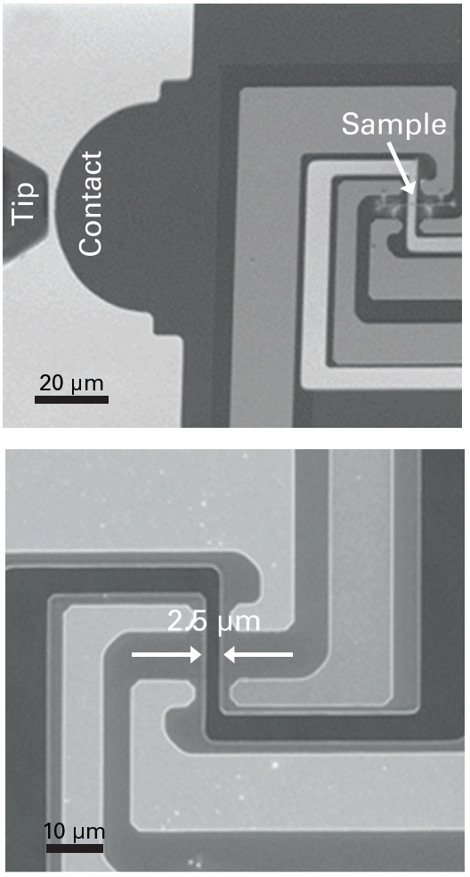 Low-magnification SEM image displaying where the probe contacts the E-PTP (top) and high-magnification image showing sample mounting position (bottom).