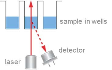 For both static and dynamic light scattering in a well plate, laser illumination and detection take place from below.