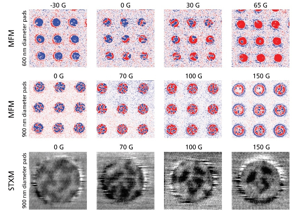 MFM imaging reveals domain behavior as a function of pad diameter and applied perpendicular magnetic field. Each MFM image of nine pads (top and middle rows) was acquired in about 20 minutes each, compared to 60-90 minutes each for the STXM images at single pads, effectively increasing data throughput by 30-50X.
