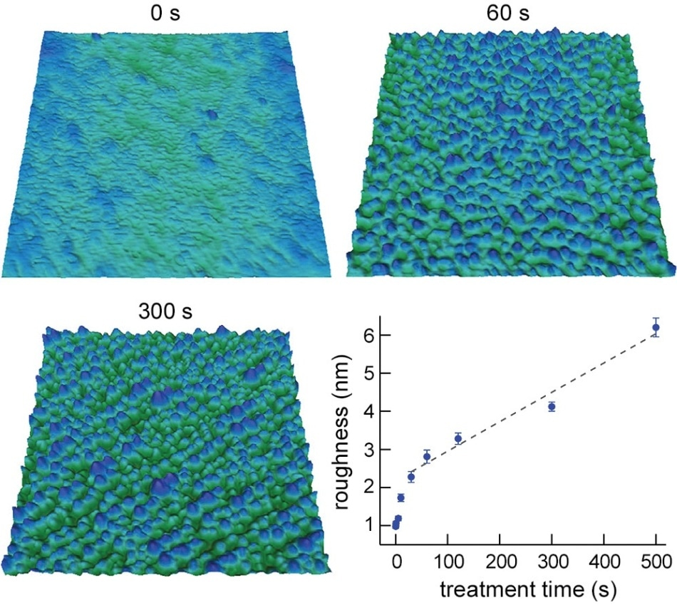 "Oxygen plasma treatment of polyethylene terephthalate (PET) films. PET fibers coated with a conducting polymer such as polypyrrole could be used in ""smart"" electronic textiles. However, achieving good coating-to-fiber adhesion remains a key challenge. Images of PET films exposed to oxygen plasma show that RMS surface roughness increased with exposure time. Films processed longer than 60 s displayed surface etching and uniform nanoscale features. The graph reveals a linear dependence of roughness on treatment time after ~30 s. Combined with data on surface chemistry, the results can be used to optimize treatment parameters for improved coating adhesion and conductivity. Scan size 1 μm; height scale 35 nm.Imaged with the Cypher S AFM. Adapted from Ref. 2."