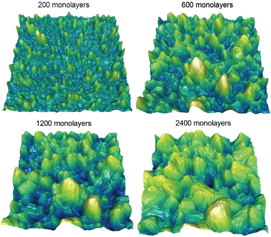 In-situ monitoring of zinc electrodeposition in an ionic liquid electrolyte. Zinc is an attractive material for electrodes in rechargeable batteries, but it can form detrimental morphologies that short circuit the cell. Uniform surface roughness that does not change with time reduces the probability of forming such features. These topography images show the morphology of a film grown at 325 mV deposition overpotential versus increasing film thickness (or equivalently, time). Surface roughness initially increased with thickness and time but eventually became constant (not shown). In contrast, the roughness always increased for films deposited at higher and lower overpotentials. Imaged with the MFP-3D AFM and the Electrochemistry Cell. Scan size 2 μm, height scale 200 nm. Adapted from Ref. 8.