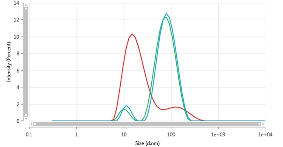 Intensity size distributions of Au-2-041-3 in backscatter using all polarizations (blue), vertical polarization (green) and horizontal polarization (red)