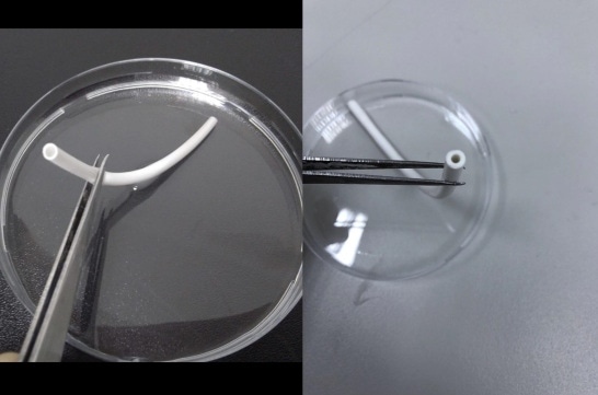 The electrospun TPU vascular graft with a diameter of 3 mm.