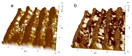 3D representation of MLCC (a) PFM amplitude and (b) PFM phase overlaid with height images showing discontinuities in the electrode and dielectric material traversing the electrodes at these defect sites.
