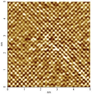 HOPG image taken with XE-100 (5 nm x 5 nm scan size). This image shows atomic lattice, not individual atoms.