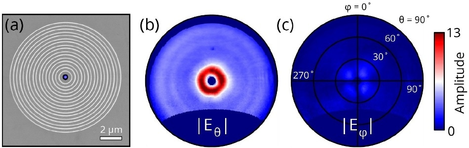 (a) SEM of a plasmonic bullseye grating milled into a single-crystal of gold using focused-ion-beam milling. (b) Radial and (c) azimuthal field amplitudes as function of emission angles θ and φ for central electron beam excitation of the bullseye.
