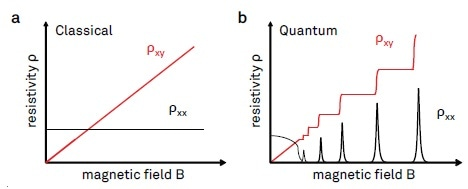 Illustration of longitudinal and transverse resistivities ρxx and ρxy plotted as a function of the magnetic field. (a) Classical Hall effect behavior, where ρxy is co-linear with B, and ρxx is independent of B. (b) Typical signatures of the integer quantum Hall effect. The Hall resistivity ρxy shows plateaus for a range of magnetic field values, with ρxx going to zero at the same time.