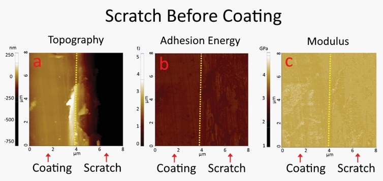 PinPoint™ nanomechanical mode images of a glass substrate when the scratch was created before the coating was applied. No contrast was observed between the coated area and the scratched area, in both adhesion energy and modulus images.