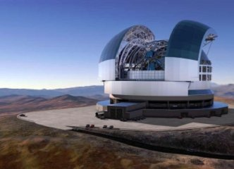 Artist rendering of the European Extremely Large Telescope (ELT), built on the 3,000-meter-high Cerro Amazones in the Atacama Desert in Chile. The ELT will be the largest terrestrial optical telescope for scientific evaluation of electromagnetic radiation in the visible and near-infrared wavelength range. (Image: ESO)