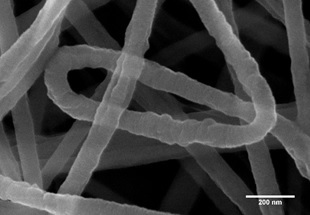 PvDF electrospinning fibers coated with 1 nm of gold with use of Quorum Q150V Plus coater.