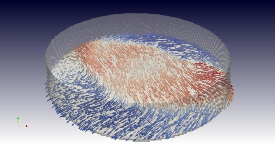 A look inside the material: a snapshot from the 3D film of the researchers. It shows a cross-section through the sample and in this plane the local alignment of the magnetic moments, represented by arrows in red (pointing to the right) and blue (pointing to the left). This makes the wavy structure and vortices in the magnetisation visible.
