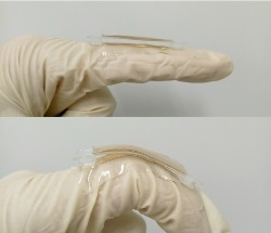 Gold Tab Attached to Skin Converts Mechanical Energy into Power for Self-Powered Electronics