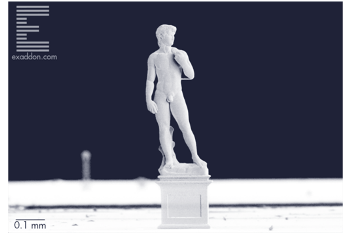 A Metal Version of Michelangelo's David Made in Microscale by Additive Manufacturing