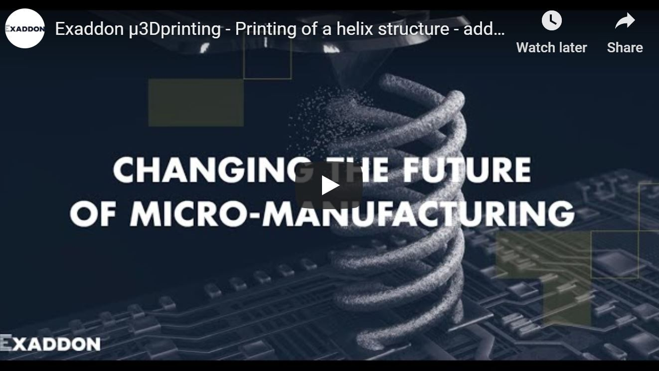 Exaddon µ3Dprinting - Printing of a helix structure - additive micromanufacturing of metals