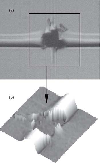 AZoNano - The A to Z of Nanotechnology - Result of transversal scratches on a typical damage area having undergone 70 cycles with an applied load of 2 mN and spherical indenter of radius 2 μm. The optical micrograph (a) clearly shows the resulting decohesion and the SFM image (b) confirms the depth at which failure has occurred.