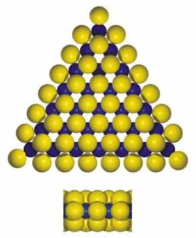 AZoNano, Nanotechnology - This graphic shows a triangular MoS2 cluster exposing Mo-edges with edge sulfur atoms located out of registry with the basal plane.