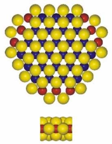 AZoNano, Nanotechnology - This graphic shows a ball model of the proposed hexagonally truncated Co-Mo-S structures. The colours are as follows: Mo(blue);S(yellow);Co(red).