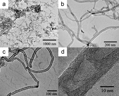 Typical TEM images of BCNTs grown at 850 ºC using a 10 wt.% Cu/Mo/MgO catalyst: (a) low magnification TEM image of BCNTs, (b) TEM image of catalyst particles located inside and at the tips of the nanotubes, (c) TEM image of carbon nanotubes filled with a catalyst nanoparticle which is responsible for the formation of BCNTs with an outer diameter of 20 nm, (d) a high-resolution TEM image of a BCNT with the curved graphite sheets.