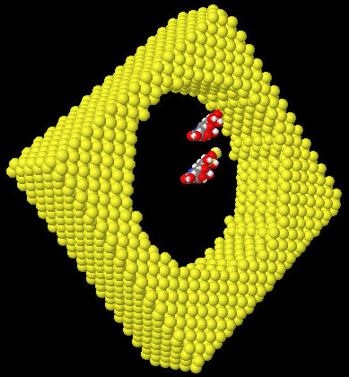 AZoNano - Online Journal of Nanotechnology - View of the molecular scale of silane molecules compared to a 6nm diameter PS pore. One of the molecule is grafted on the surface. Si (yellow), O (red), H (white), C (grey),and N (blue)