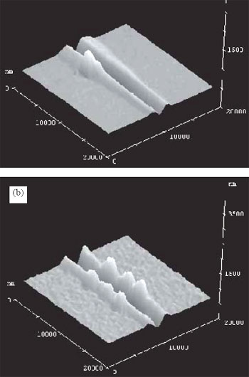 AZoNano - The A to Z of Nanotechnology - Scanning Force Microscopy (SFM) images showing the difference in plastic deformation of the deposited polymer coating for a standard polished Si substrate (a) and a polysilicon substrate (b). The images were taken at the main critical point along the scratch path where delamination begins. Note the difference in surface roughness between the two types of sample.